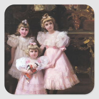 Joaquín Sorolla- The Three Errazuriz Sisters Square Sticker