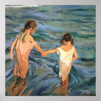 Joaquín Sorolla y Bastida Children in the Sea Poster