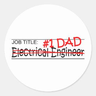 Job Dad Elect Eng Round Sticker