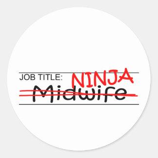 Job Title Ninja - Midwife Round Sticker