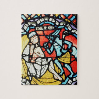 Job tormented by the Devil, 12th century (stained Jigsaw Puzzle