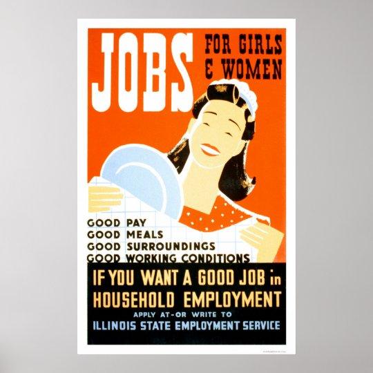 Jobs For Girls Women 1936 WPA Poster