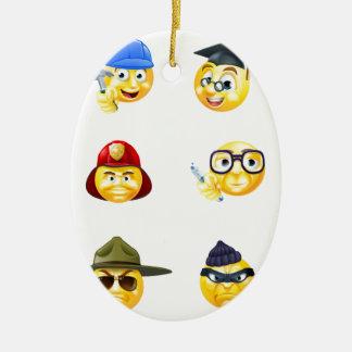 Jobs Occupations Work Emoji Emoticon Set Ceramic Oval Decoration
