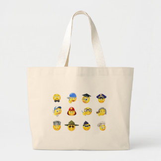 Jobs Occupations Work Emoji Emoticon Set Large Tote Bag