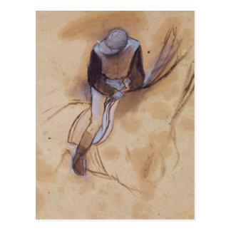 Jockey flexed forward standing in the saddle post card
