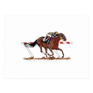 Jockey on Racehorse Postcard