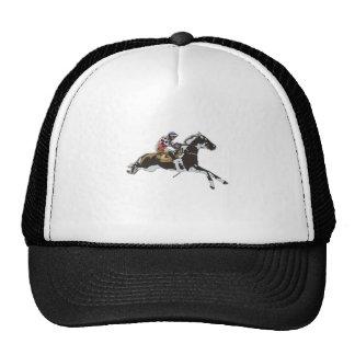 Jockey racing on a horse cap