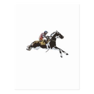 Jockey racing on a horse postcard