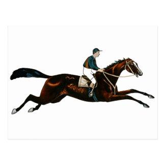 Jockey Riding A Race Horse Track Racing Postcard
