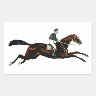 Jockey Riding A Race Horse Track Racing Rectangle Stickers