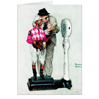 Jockey Weighing In by Norman Rockwell Note Card