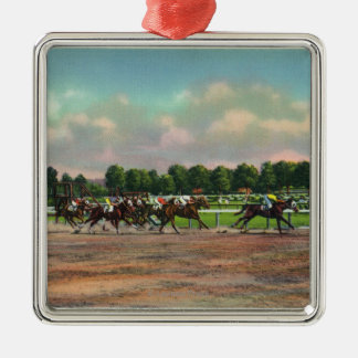 Jockeys Finishing Horse Race at Race Track Ornaments
