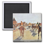 Jockeys In Front Of The Grandstand By Edgar Degas Square Magnet
