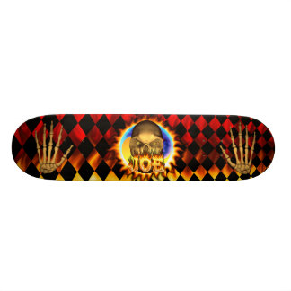 Joe skull real fire and flames skateboard design