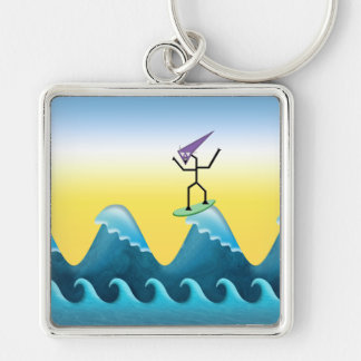 Joe Surfer Silver-Colored Square Key Ring