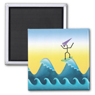 Joe Surfer Square Magnet