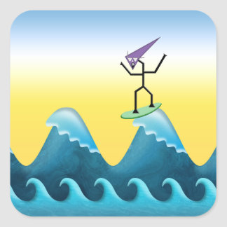 Joe Surfer Square Sticker