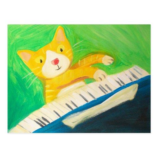 Joe the pianist cat post card