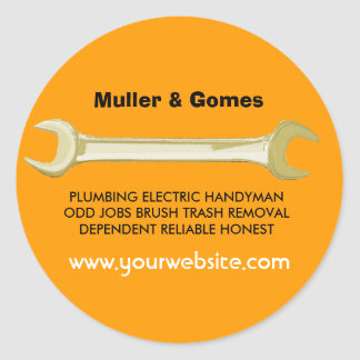 Joe The Plumber Golden Wrench Classic Round Sticker