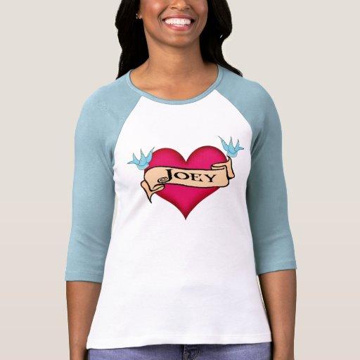 Joey custom heart tattoo t shirts gifts zazzle for Zazzle custom t shirts