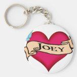 Joey - Custom Heart Tattoo T-shirts & Gifts Basic Round Button Key Ring