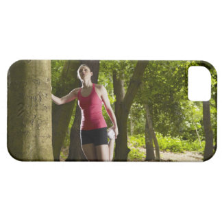 Jogger stretching in forest barely there iPhone 5 case
