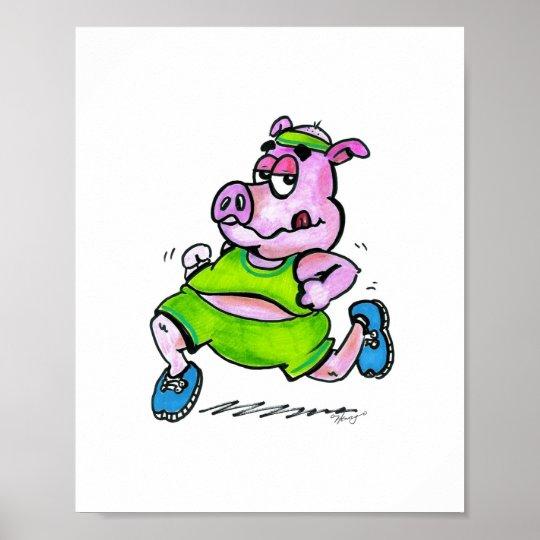 Jogging Pig Poster
