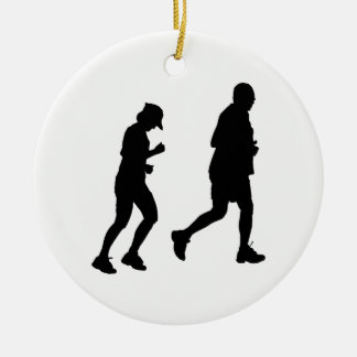 Jogging Silhouette Christmas Ornament