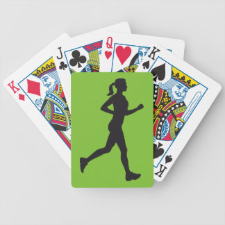 jogging woman bicycle playing cards