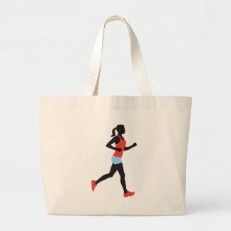 jogging woman jumbo tote bag
