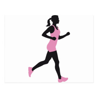 jogging woman postcard