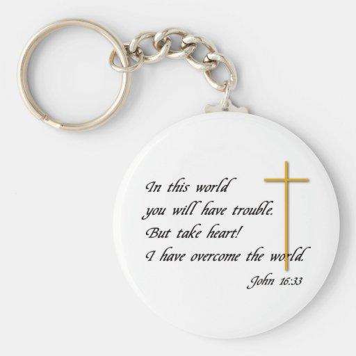 Joh 16:33 basic round button key ring