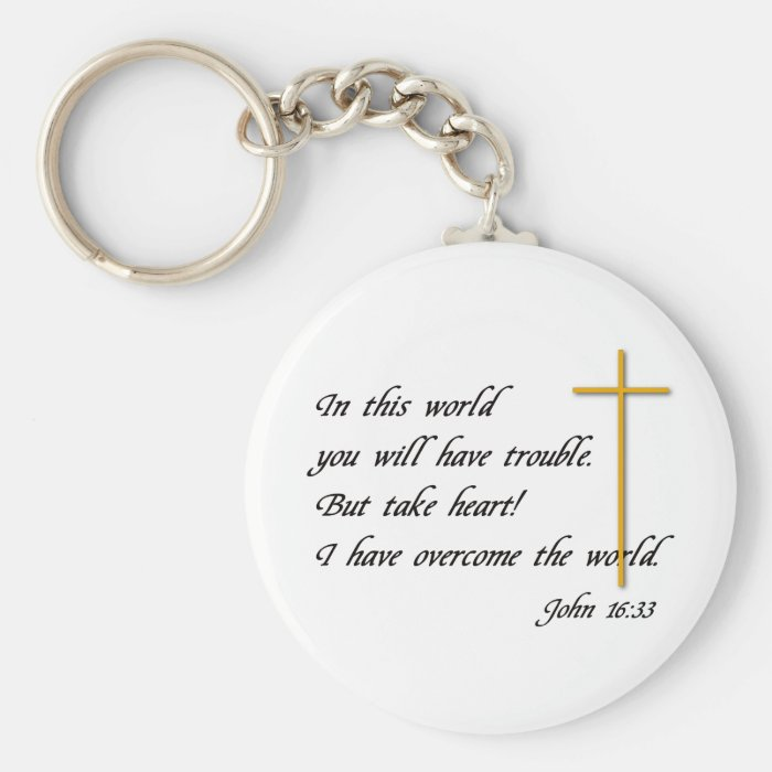Joh 16:33 basic round button key ring