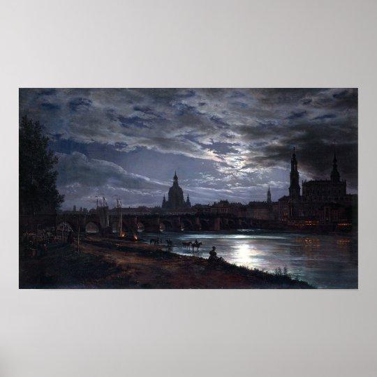 Johan Christian Dahl View of Dresden by Moonlight