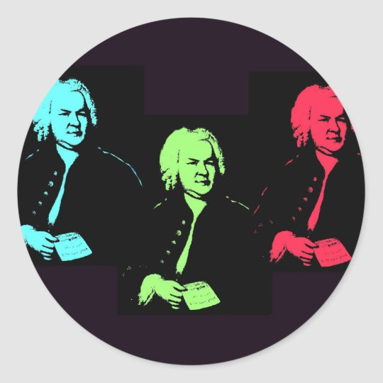 Johann Sebastian Bach Collage Classic Round Sticker