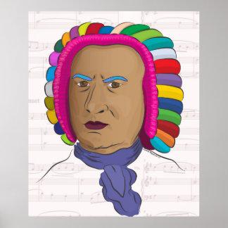 Johann Sebastian Bach in Colorful Wig Pop Art Poster
