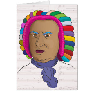 Johann Sebastian Bach in Vibrant Color Wig Pop Art Greeting Card