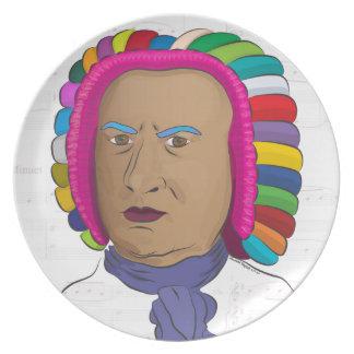 Johann Sebastian Bach in Vibrant Color Wig Pop Art Party Plate