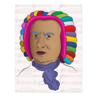 Johann Sebastian Bach in Vibrant Color Wig Pop Art Postcard