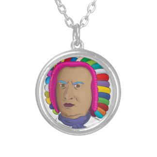 Johann Sebastian Bach in Vibrant Color Wig Pop Art Round Pendant Necklace