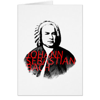 Johann Sebastian Bach portrait and red letters Note Card