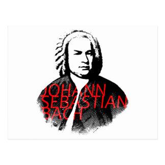 Johann Sebastian Bach portrait and red letters Postcard