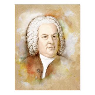 Johann Sebastian Bach portrait in beige Postcard