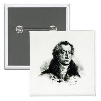 Johann Wolfgang Goethe  engraved by Delacroix 15 Cm Square Badge