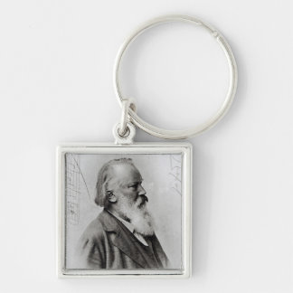 Johannes Brahms Silver-Colored Square Key Ring