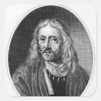 Johannes Hevelius, engraved by J. Baker Square Sticker