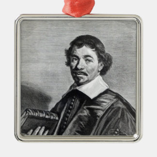 Johannes Hoornbeek, engraved by Jonas Silver-Colored Square Decoration