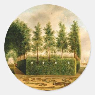 Johannes Janson A Formal Garden 18th Century Art Round Sticker