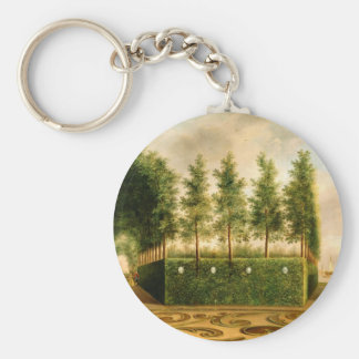 Johannes Janson A Formal Garden Vintage Painting Basic Round Button Key Ring