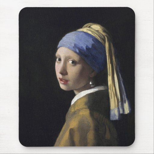 Johannes vermeer girl with a pearl earring mouse pad for Johannes vermeer girl with a pearl earring